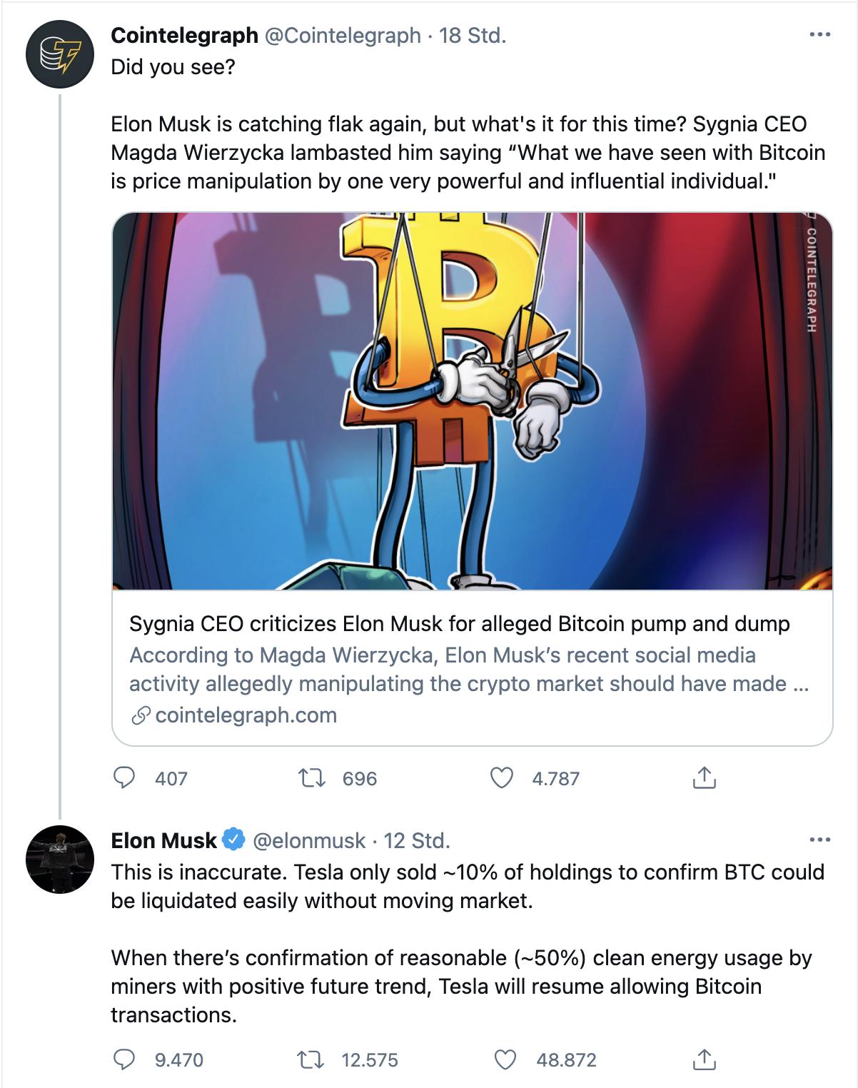 Bitcoin nach Musk-Tweet wieder in Schlagdistanz zur 40.000 Dollar-Marke